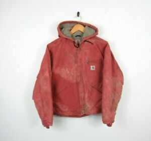 WORN Womens CARHARTT Rose Pink Work Jacket Sherpa Lined Hooded Sandstone | Small