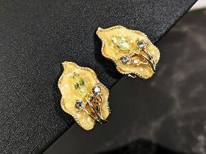 Vintage Frost Effect Gold tone clip on Coro Jewellery Earrings 1950s