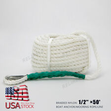 White Twisted 1/2'' ×50' ft Boat Marine Anchor Line Dock Mooring Rope 12mm*15m