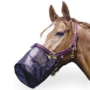 Horse Full Nose Net Fly Pollen Muzzle Filter Shield Pony Cob Full Size Black