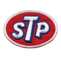 """STP IRON ON PATCH 2.75"""" Racing Race Car Motor Oil Red White Embroidered Applique"""