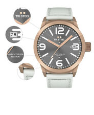 TW Steel Marc Coblen Edition WATCH with a white leather strap, TWMC54-men's