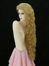 "Super Long Curly Wig! Wild Girl! Butterscotch/Lt Strawberry Blonde 40""    D5"