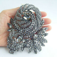 "4.72"" Gorgeous Rose Flower Brooch Pin w Gray Rhinestone Crystals EE04248C2"