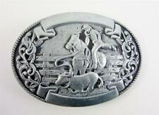 Belt Buckle Vintage Pewter Chamber Trophy Lasso Horse Rodeo Western Cowboy Lot A
