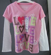 "Total Girl, Medium (5) Prism Pink ""Love"" Top, New with Tags"