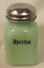 Jade Jadite Milk Green Glass Stove Top Spice Shaker w/ herbs