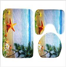 Starfish Coconut Tree Set Bath Mat Toilet Lid Top Cover Bathroom Rug Shower Mats