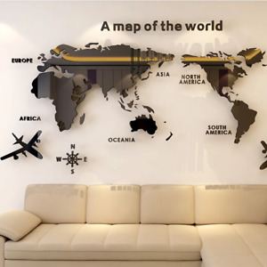 Large Size 3D World map wall decor stickers Living Room office Decals attractive