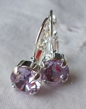 8mm Cup Chain LT VIOLET/SILVER LEVERBACK Drop EARRINGS w/Swarovski Crystals