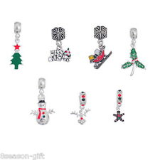 7PCs Charm Dangle Beads Christmas Pattern Fit Charm Bracelets Jewelry Decor
