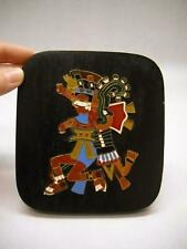 METAL ART Aztec GOD OF FIRE Xiuhtecuhtli BLACK Wood Backing MADE IN MEXICO