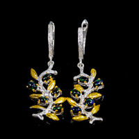 Natural Black Opal Earrings Silver 925 Sterling Rainbow SET5x3mm  /E39393