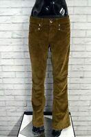 Pantalone DONDUP Donna Taglia 34/48 Jeans Pants Regular Costine Cotone Marrone