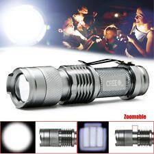 Mini 7W 400 lumen CREE LED Adjustable Zoom Focus Flashlight Torch Lamp Sliver