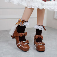 Womens Bowknot Sweet Mary Janes Mid Block Heel Round toe Buckle Lolita Shoes New