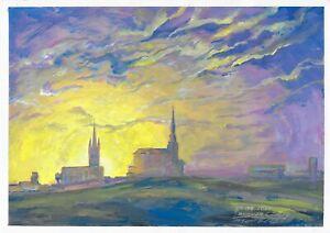 original painting A3 123MA art Gouache Impressionism landscape sunset Signed