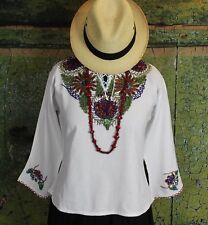 White Hand Beaded Chaquira Blouse Guatemala Peasant Hippie Boho Santa Fe Style