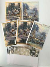 Glitter Hallmark CHRISTMAS Cards (5 Pack)~THOMAS KINKADE with Matching Envelopes
