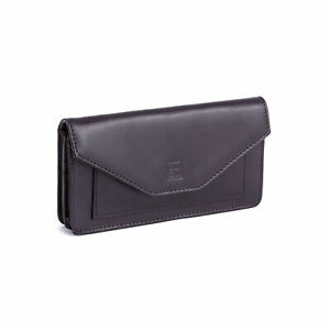 Ladies Burro Leather Long Flap-over Purse Multi Credit Card Wallet with Inner Zi
