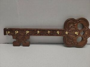 Vintage Carved Wooden Key Shaped Key Holder With Gold Tone Hooks
