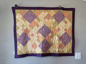 "Cotton Handmade & Custom Design Baby Boy Quilt & Fleece Back (37"" X 46 1/4"")"
