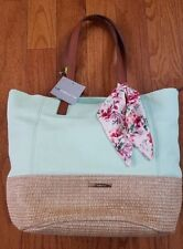 LIZ CLAIBORNE ACCESSORIES AMY TOTE MINT GREEN ZIP TOP FAUX STRAW BOTTOM NWT 743b153ad4f0f