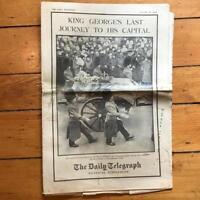 Vintage Daily Telegraph Pictorial Supplement Newspaper Jan 24 1936 King George
