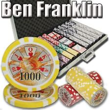 New 1000 Ben Franklin 14g Clay Poker Chips Set with Aluminum Case - Pick Chips!