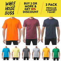3 PACK PROCLUB PROCLUB MEN'S COMFORT SHORT SLEEVE T-SHIRTS CASUAL COTTON TEE