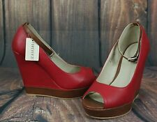 NEW FOREVER 21 Womens Red Peep Toe High Wedge Heels Size 7 M