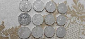 Lot de 12 pièces de 5 francs argent semeuse
