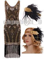 1920s Flapper Fancy Dress Gatsby Charleston Vintage Fringe Sequins Beadeds Dress