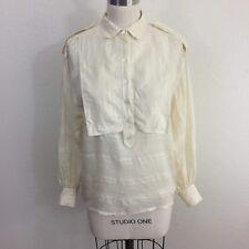 Vintage Escada Blouse Sz 36 Ivory 100% Silk Long Sleeve Popover Shirt