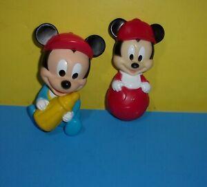 "Mickey Mouse Figurine Baby Bottle 5"" Tall Vinyl Toy Disney Figure w/ Squeak Arco"