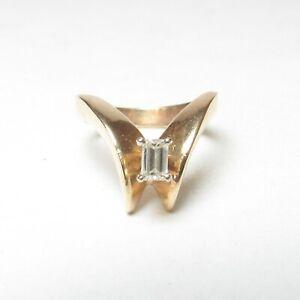 Estate 14K Yellow Gold 0.23 Ct Emerald Cut Diamond Solitaire Ring