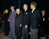 President John F. Kennedy with LBJ at Italy Unification Ceremony Photo Print