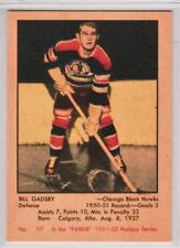 Bill Gadsby 1951-52 Parkhurst Chicago Black Hawks REPRINT ROOKIE Hockey Card #37