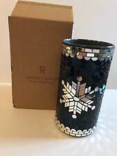 YANKEE CANDLE Mosaic Snowflake Jar Holder BLUE/SILVER MIRRORED NEW Tags Box XMAS
