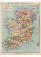 Antique Map Of Ireland Political George Philip & Sons C1930