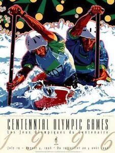 Atlanta 1996 Olympics WHITEWATER KAYAKING Boat Racing Original Event POSTER
