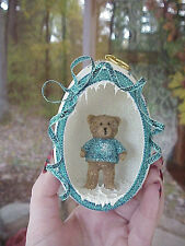REAL Carved Goose Egg Decorated Christmas Ornament Gift Snowflake/Teddy Bear #4