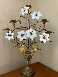 Antique French Milk Glass Flower Gold Gilt Brass Footed Candelabra Alter Sconce