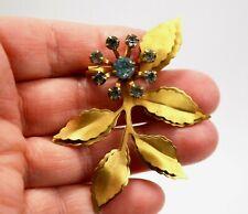 Brooch Pin Metal with Blue Rhinestones Vintage Gold Toned Flower Pendant /