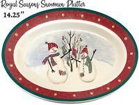 Royal Seasons SNOWMAN Lg Serving Platter Oval Stoneware Holiday Christmas Vtg