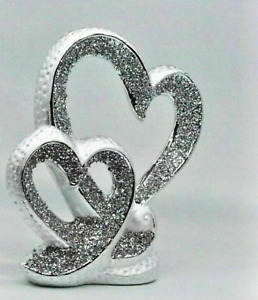 Silver Beautiful Double Heart Sparkle Bling Ornament Crushed Diamond Decoration