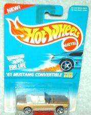 Hot Wheels 1996 # 455 '65 Mustang Convertible gold,3 spoke variation,ex.card