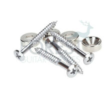 Guitar chrome neck joint ferrules set of four with screws-bushings