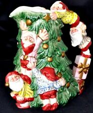 Fitz and Floyd ~ 7 Dwarfs CHRISTMAS Tree Pitcher 2 QTS VINTAGE Collectible EUC