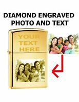 Zippo Custom Lighter Customize Engraved Photo Brass Gold High Polished 254B